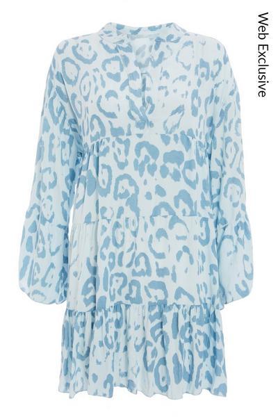 Blue Animal Print Smock Dress